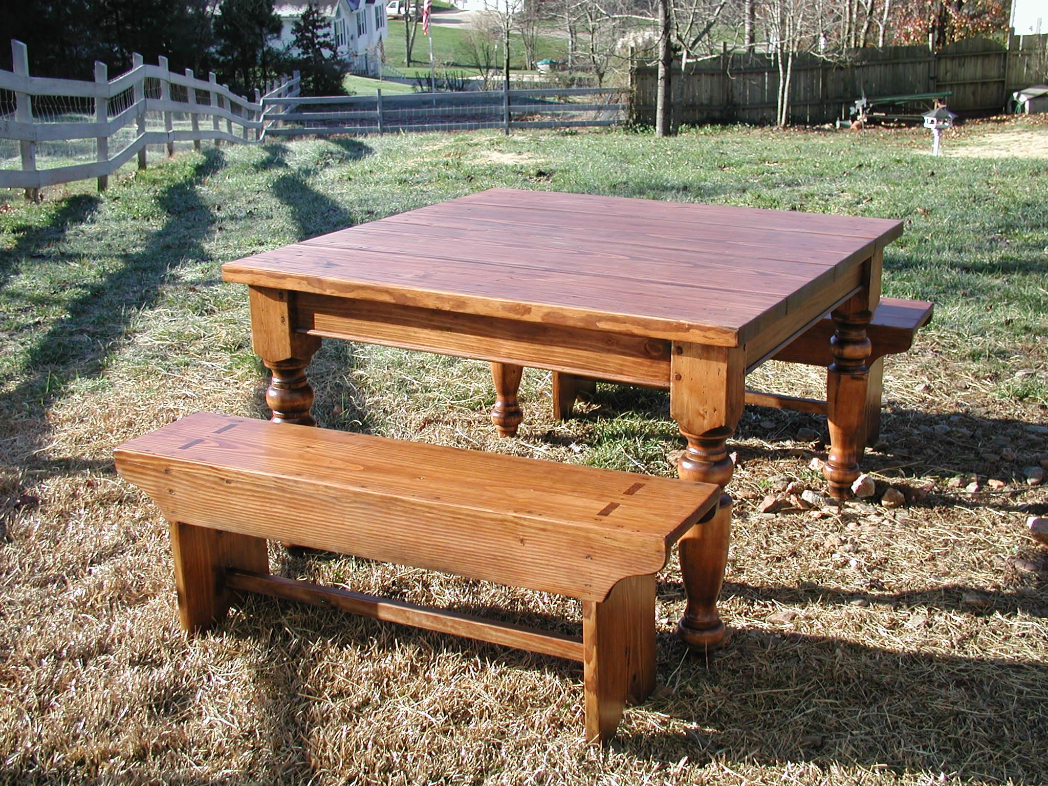 Irish immigrant pine farm table w benches